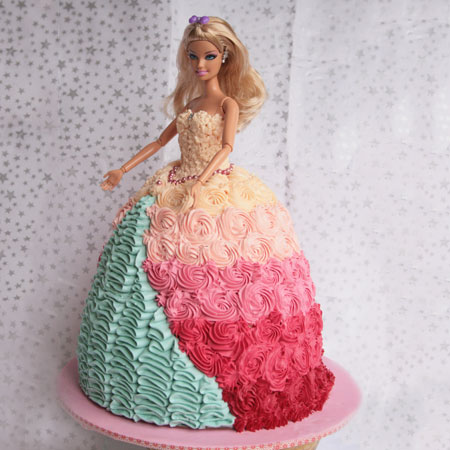DOL004 -  Colorful Barbie Doll Cake