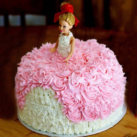 DOL009 -  Rosy Barbie Doll Cake