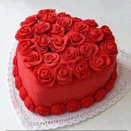 RDV006 - Rosy Red Velvet Heart Cake