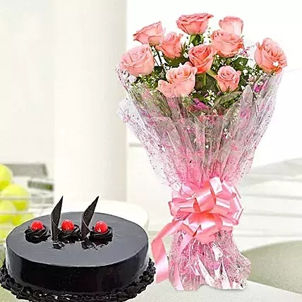 CCF003 - 10-pink-roses-and-truffle-cake-combo