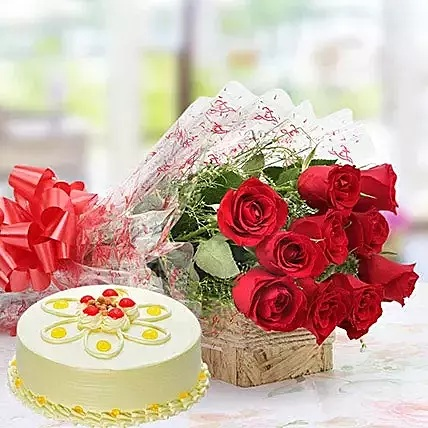 CCF010 - Red Roses and Butterscotch Cake Combo