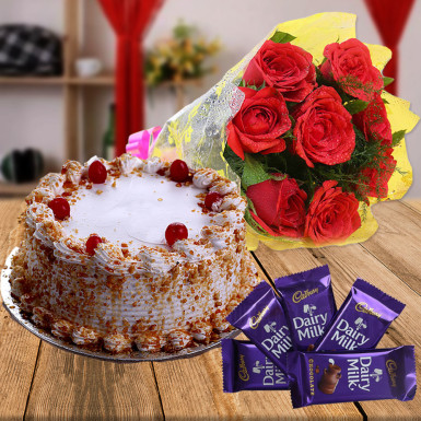 CCF012 - 5 Dairy Milk Chocolate with Cake and Flower