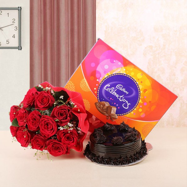 CCF013 - Dairy Milk Family Pack with Cake and Flower